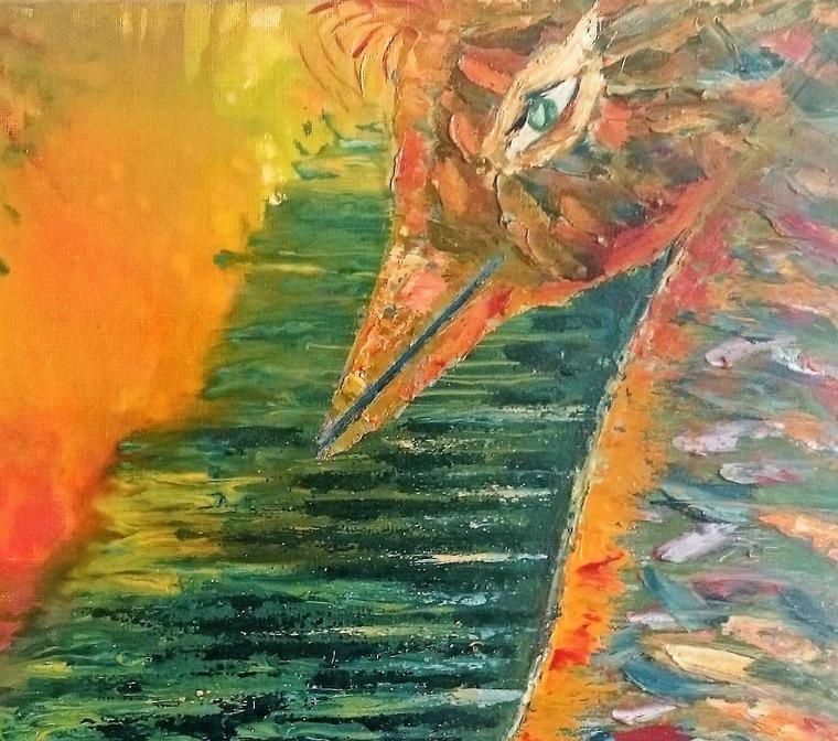 картина, интерьерная картина, картина в подарок, птица мастихином