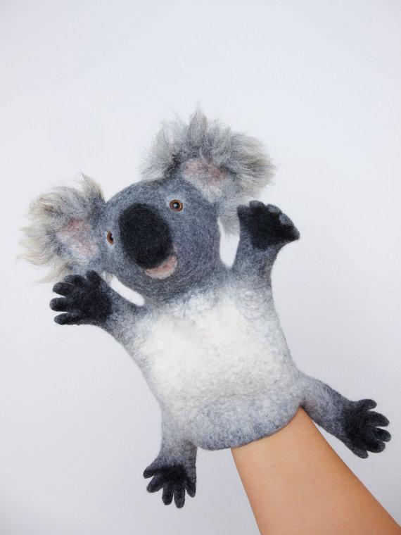 валяние, мокрый войлок, игрушка-перчатка, звери-бибабо