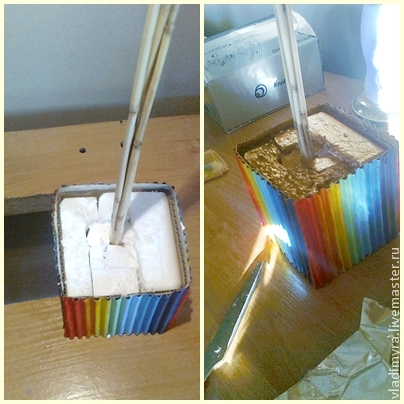 творчество с детьми, картонные коробки, радуга
