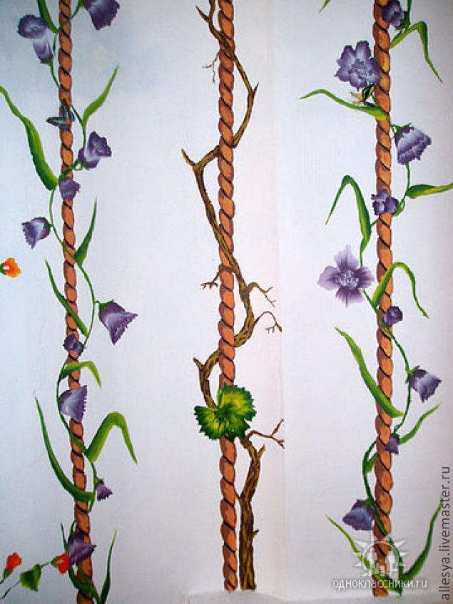 Растяжка акрилом в росписи стен