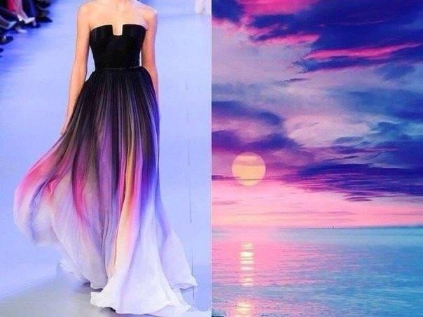 платье с принтом, голубой