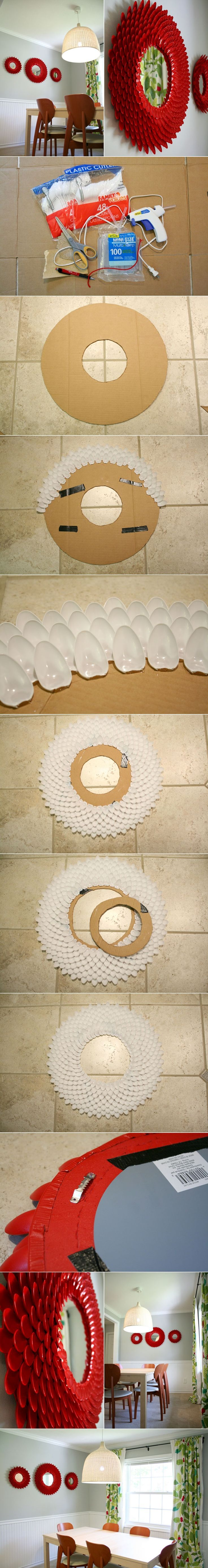 DIY Decorative Chrysanthemum Mirror with Plastic Spoons | <a href=