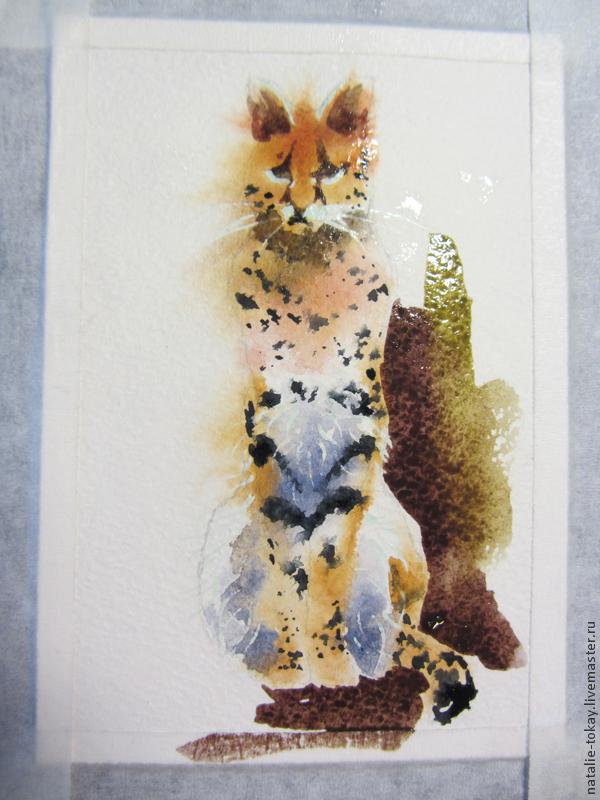 пятнистая кошка, открытка