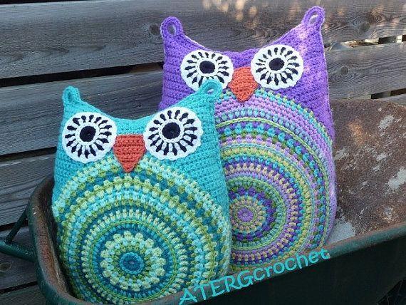 Crochet owl pillow