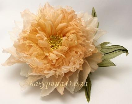 обучение, цветы из шелка, пион, брошь-цветок