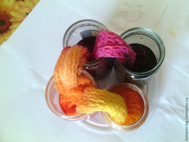 Красим старый шарф с помощью красителей для яиц, фото № 7
