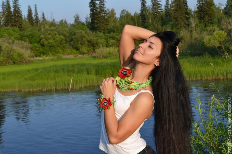 полевые цветы из кожи
