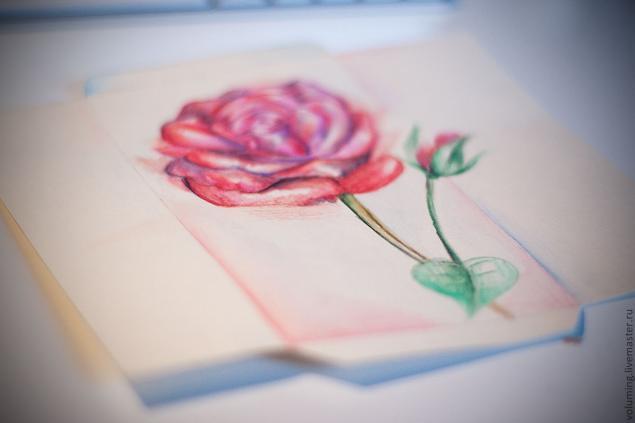 упаковка, роза, конверт