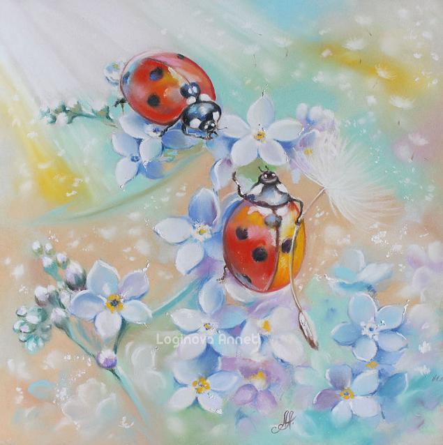 картины пастелью, божьи коровки, лето