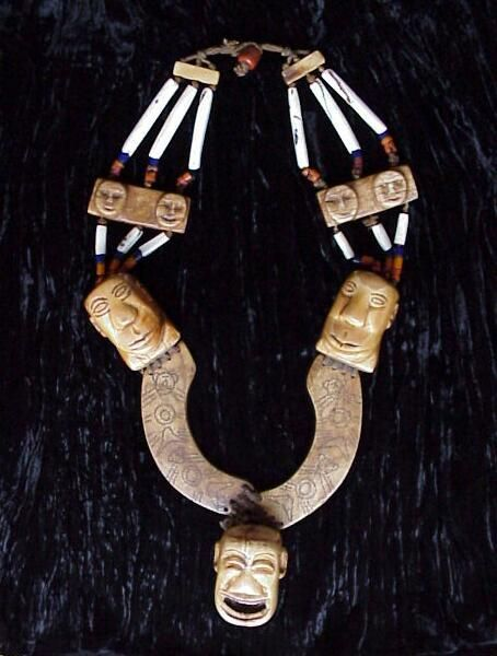 Naga, Ceremonial Necklace | Three Bone Heads Connected By Arches Of Tattooed Bone on Necklace Of Antique Conch Shell Tubular Beads, Very Rare High Status