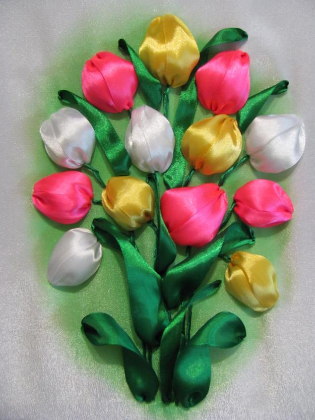 """Картина  """"Тюльпаны """" из Атласных Лент. (от Оксаны из Киева)"""