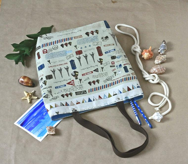 уроки шитья, мечты о море, текстильная сумка