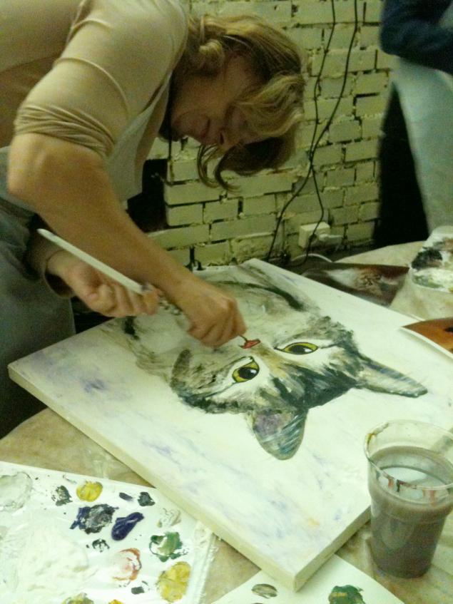 портрет кошки, мастер-класс по живописи, акрил