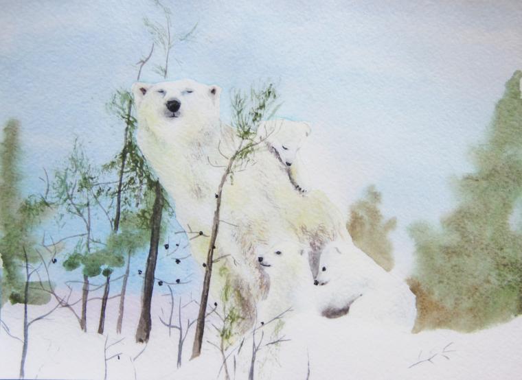 картина, акварельная живопись, белый медведь, дети