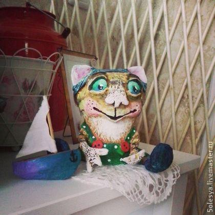 кот, папье-маше, игрушка, единственный экземпляр