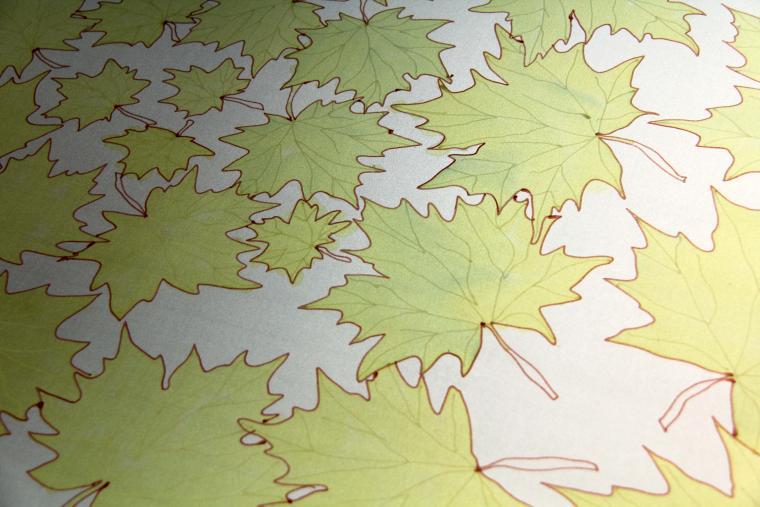 шелк, осенние листья