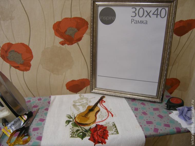 Оформление готовой вышивки в рамку, фото № 16