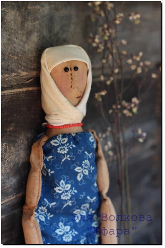 кукла, текстиль, синий, корица