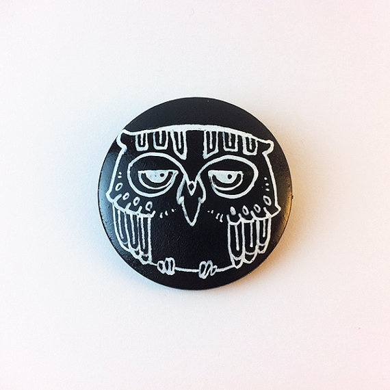 Owl badge  Black and white by Myrntai on Etsy, $8.00