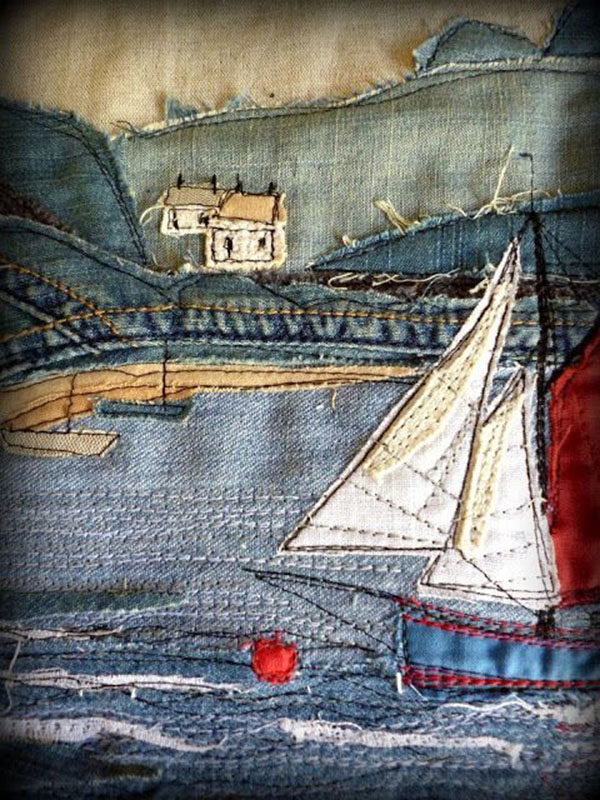 Пэчворк панно из джинса фото