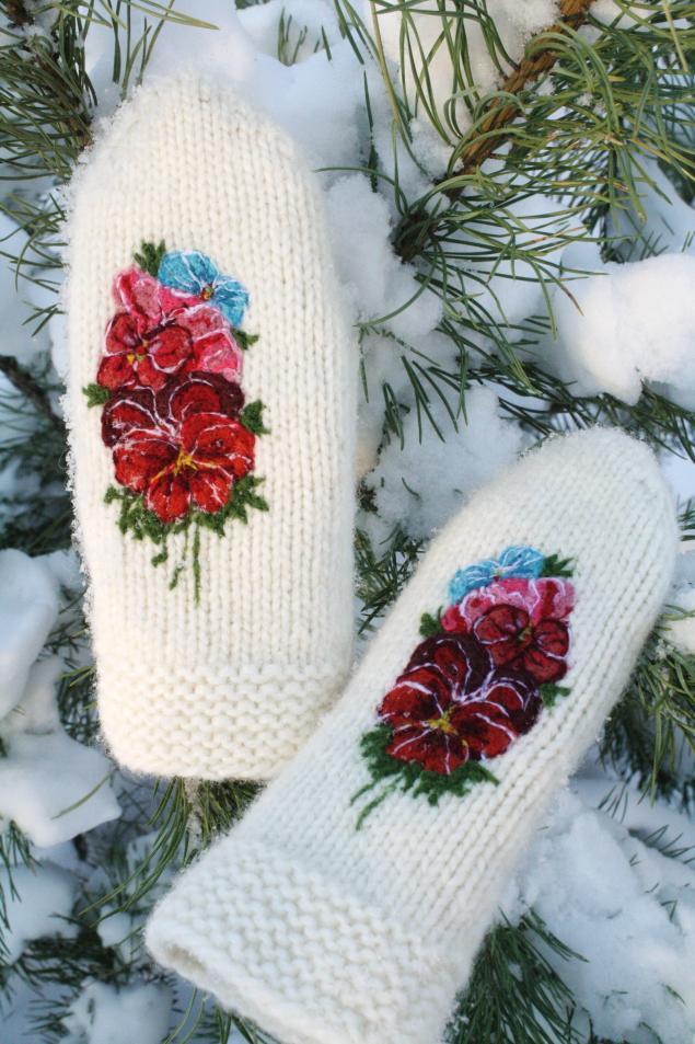 варежки вязаные, белые шерстяные варежки, весна, подарок для девушки