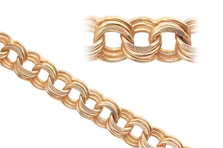 цепочки из золота - плетение бисмарк