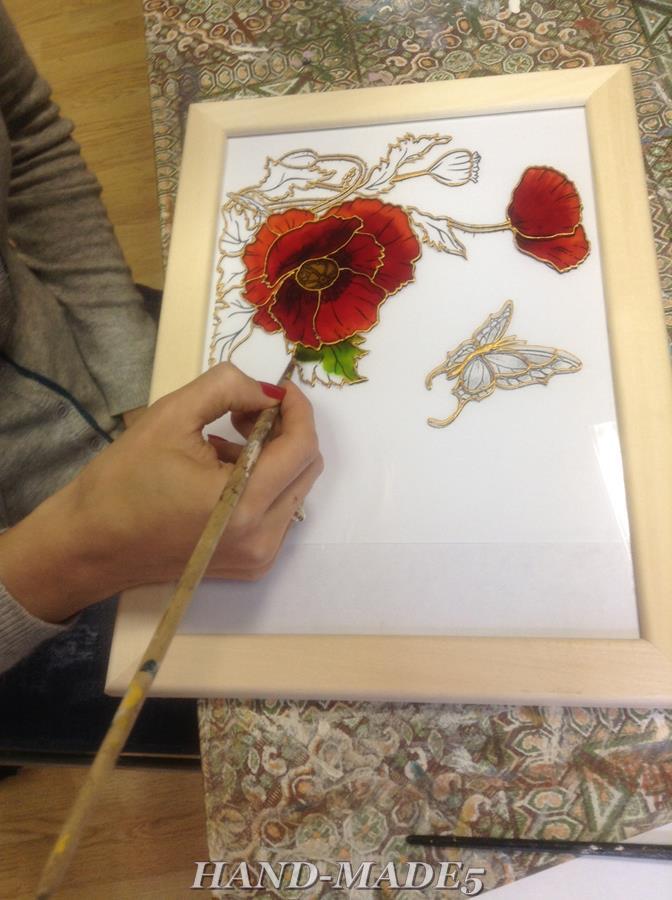 Витражное панно с цветочным рисунком - новый мастер-класс по росписи стекла! Спешите записаться!, фото № 10