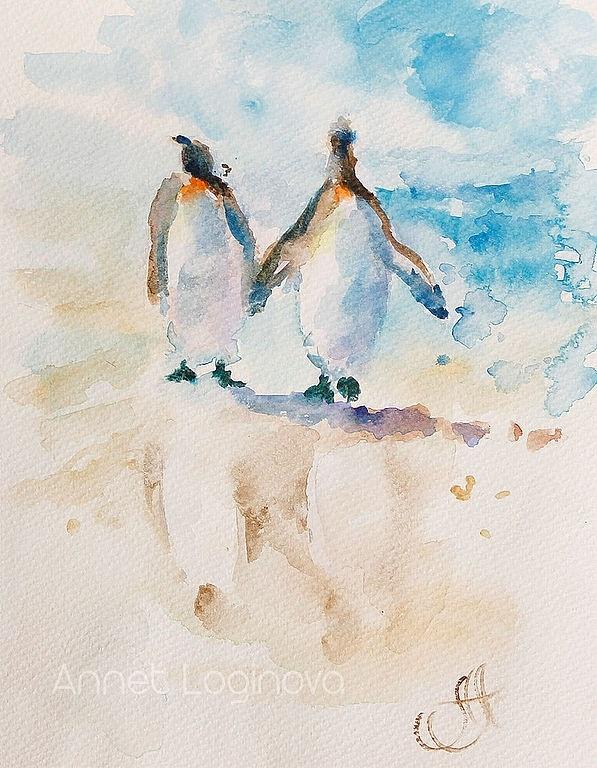 акварель, море акварелью, он и она, о любви