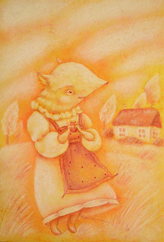 новая картина, картина мышка, картина деревня, деревенская идиллия, мышкино счастье, счастливая картина
