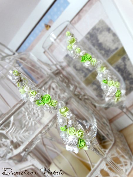 свадебные бокалы, пластика, фимо
