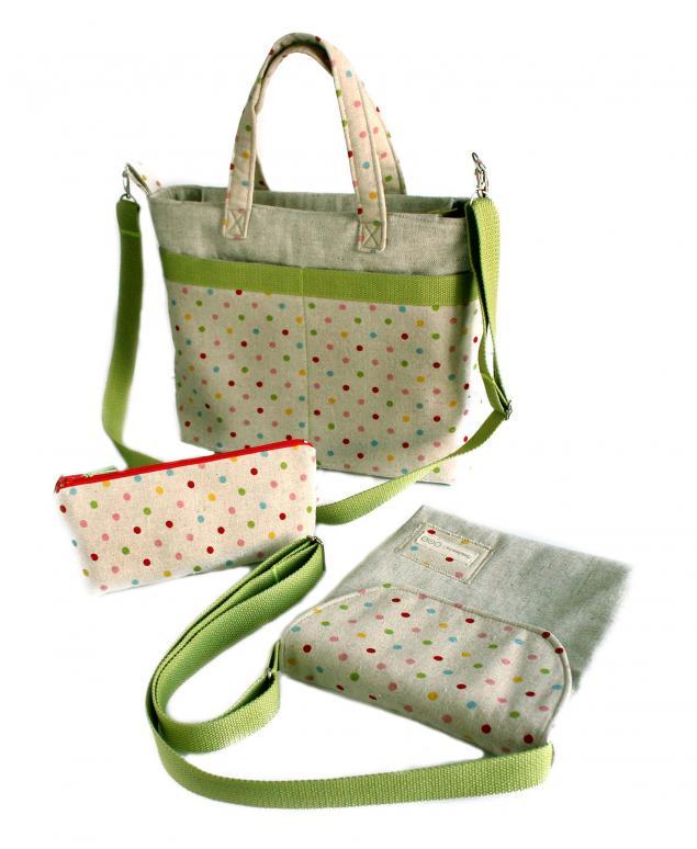 в горошек, цвет травы, текстильные сумки, коллекция сумок, сумка для ноутбука, сумка в отпуск, комплект сумок, цветные горошки, серый и зелёный, серый и травянистый, текстильная сумка, сумочка через плечо, в отпуск, косметичка, сумка ручной работы, сумка своими руками