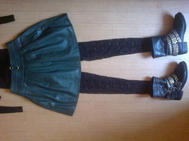 юбка, натуральная кожа, изумрудный, тренд, зима