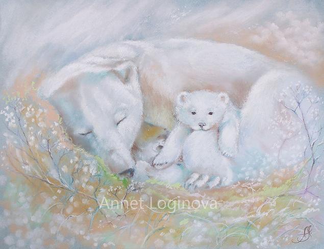 белые медведи, картины с медведями, белый мишка, сны, мечты, сказочная картина