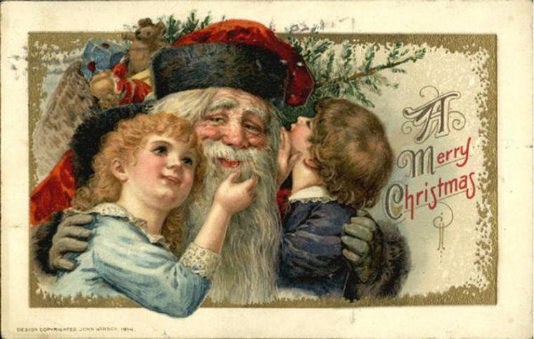 Открытки, первые новогодние открытки англия
