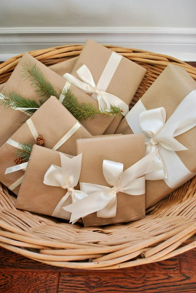 Упаковка подарка в крафт бумагу мастер класс 31