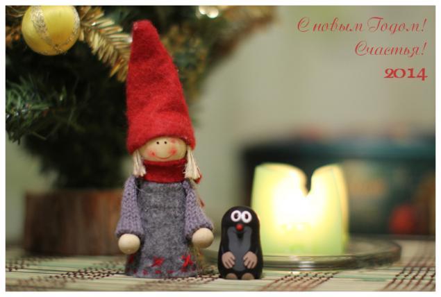 с новым годом, открытка, кротик из мультфильма, свеча, зеленый, красный, елка, шар, новогодний, фото, девочка, колпак, серый, поздравление