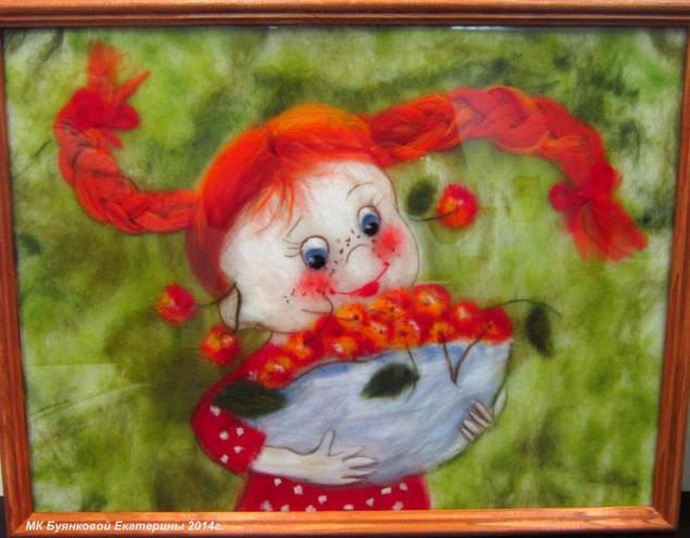 подарок, картины из сухой шерсти