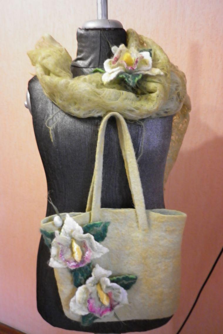 валяные комплекты, комплект с орхидеями