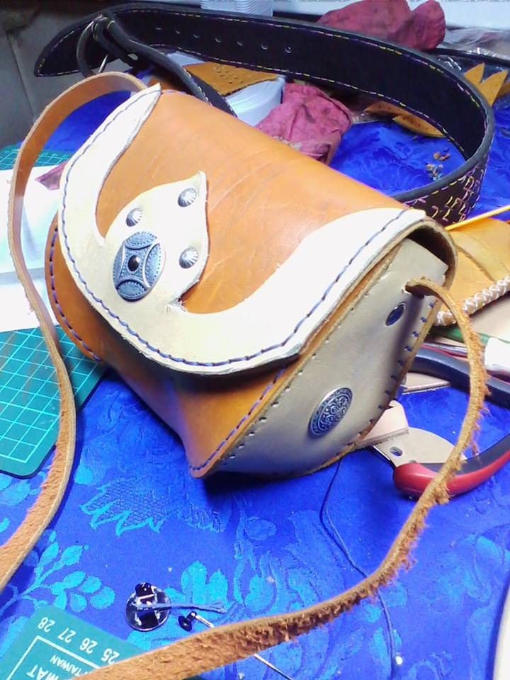 мастер-класс, работа с кожей, сумка