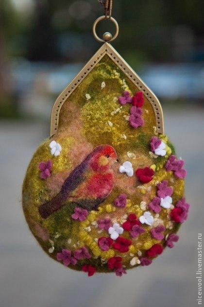 валяем сумку, цветочный декор, мокрое валяние