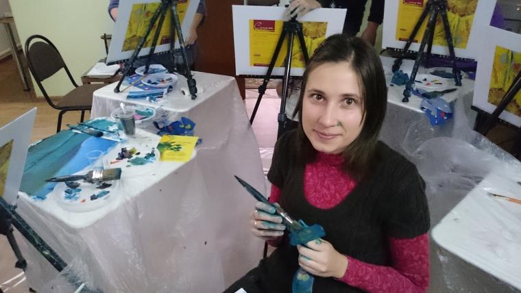 мастер-класс по живописи, обучение живописи, зимний пейзаж