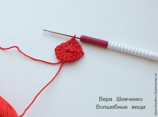 МК Вяжем сердечко - брелок (много фото), фото № 8