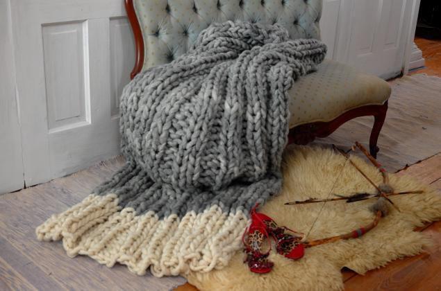 дизайн интерьера, плед, вязаное одеяло